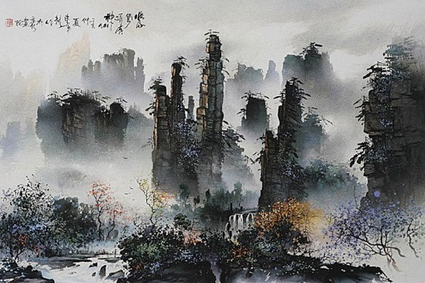 The Sand-stone Painting Stems from Mysterious and Beautiful Zhangjiajie